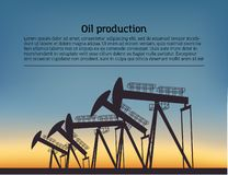 Oil producing Rig silouette. Black pictogram on color background. Vector illustration with text royalty free illustration