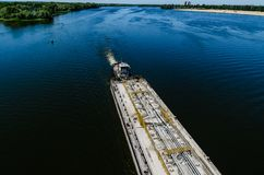 Oil product tanker barge on river Dnieper Royalty Free Stock Photography