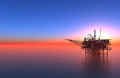 Oil production. In the sea stock illustration