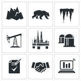 Oil production in the Arctic Vector Icons Set Royalty Free Stock Photos