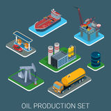 Oil production cycle flat 3d web isometric infographic concept. Oil gasoline production process cycle flat 3d web isometric infographic concept vector icon set royalty free illustration