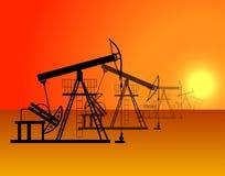 Oil production in the desert. Oil production in the orange desert at the sunset stock illustration
