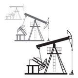 Oil production in the desert. Oil production in the orange desert at the sunset vector illustration