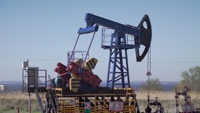 Oil production from the ground stock video footage