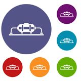 Oil production icons set. In flat circle reb, blue and green color for web stock illustration