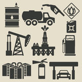 Oil production industry icons set Royalty Free Stock Images