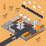 Oil Production Isometric Composition. With industrial buildings, derricks, tanks for storage, transportation on desert background vector illustration Stock Photography