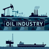 Oil production on land and at sea. Oil industry vector illustration. Two banners with an oil rig and ocean platform stock illustration