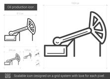 Oil production line icon. Oil production vector line icon isolated on white background. Oil production line icon for infographic, website or app. Scalable icon stock illustration