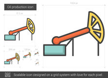 Oil production line icon. Oil production vector line icon isolated on white background. Oil production line icon for infographic, website or app. Scalable icon vector illustration