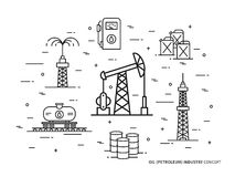 Oil production linear vector illustration. With oil derrick, petrolium, fuel, gasoline, barrel, petrol tower. Oil production creative graphic concept stock illustration