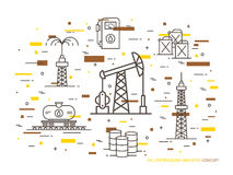 Oil production linear vector illustration Royalty Free Stock Photo