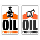 Oil production logo. petroleum industry sign. Logo for petrol pr. Ocessing. naphthal rig workers and human hands vector illustration