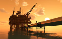 Oil production and the pipe Stock Photography