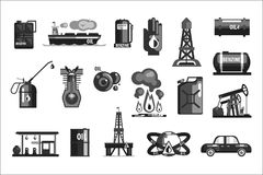 Oil Production Set Of Icons. In Realistic Black And White Graphic Vector Silhouette Design Stock Photos