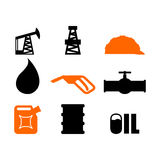 Oil production set of icons. petroleum industry sign. Logo for p. Etrol processing. naphtha rig and working helmet. Pipeline and barrel. Canister and ink drops Stock Images
