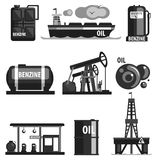 Oil Production Set Of Icons. In Realistic Black And White Graphic Vector Silhouette Design royalty free illustration