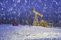 Oil production in the winter on Mount Synechka Royalty Free Stock Photo