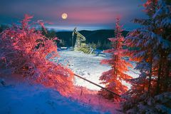 Oil production in the winter on Mount Synechka Stock Photography
