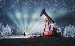 Oil production in the winter on Mount Synechka Stock Image