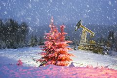 Oil production in the winter on Mount Synechka Stock Photos