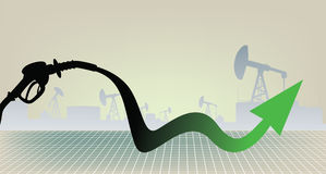 Oil products price growth illustration Royalty Free Stock Photos