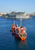 The Oil Products Tanker KAROL WOJTYLA moored in the Grand harbou Royalty Free Stock Images