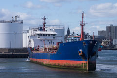 Oil products tanker leaving terminal Royalty Free Stock Photo