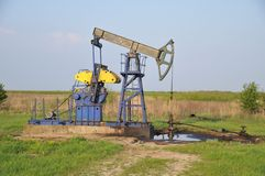Oil pump. Grasshopper oil pump. oil extraction. oil industry Royalty Free Stock Photography