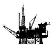 Oil pump. Oil drilling rig silhouette, illustration royalty free illustration
