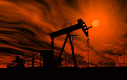 Oil Pump. A silhouette of an oil pump against a hot sky royalty free illustration
