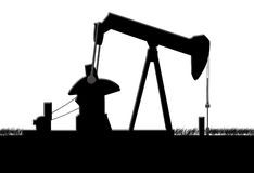Oil pump. Jack silhouette at night Royalty Free Stock Image