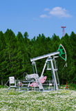 Oil pump. On a background the forest with camomile field Stock Photo