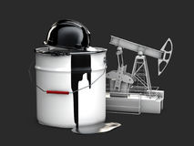 Oil pump with barrel oil and hamlet, 3d illustration isolated black. Oil pump with barrel oil and hamlet. 3d illustration isolated black Royalty Free Stock Photos