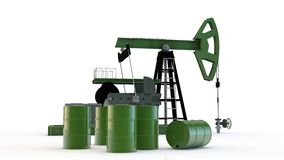 Oil pump and barrels. Oil pump and green barrel Stock Image