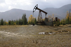 Oil pump in the Carpathian Mountains Stock Image