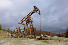 Oil pump in the Carpathian Mountains Stock Photography