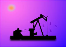 Oil pump and dollar signs Stock Image