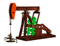 Oil Pump Dollars. 3D illustration depicting a wellhead  and pump jack with dollar signs as counter-weights Royalty Free Stock Image