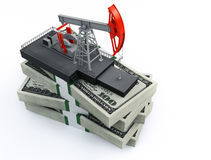 Oil pump and dollars vector illustration