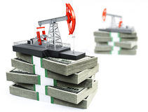 Oil pump and dollars. 3d image on white background Stock Photos