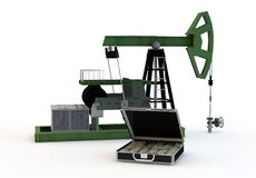 Oil pump and dollars Stock Photography