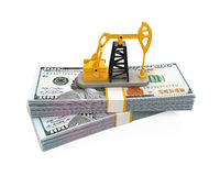Oil Pump and Dollars Royalty Free Stock Photos
