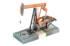Oil pump with dollars Stock Images
