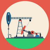 Oil pump flat vector illustration Royalty Free Stock Photography