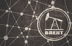 Brent crude oil presentation banner. Oil pump icon and Brent crude oil name. Energy and power relative backdrop. Molecule and communication style background stock photos