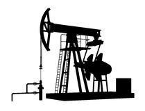 Oil pump isolated on a white background. Silhouette of oil pump isolated on a white background Stock Photos