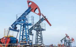Oil pump jack. Oil industry and gas industry. Work of oil pump jack on a oil field Stock Photography