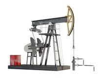 Oil pump jack isolated on white background Stock Image