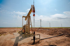 Oil pump jack on the plains of west Texas Royalty Free Stock Photography